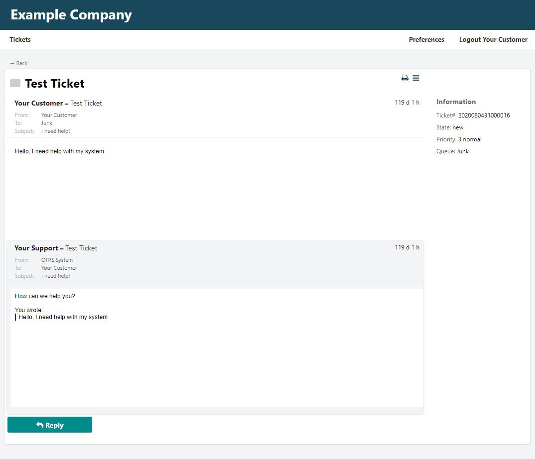 Moderner Kunden-Skin Ticket Informationen (CustomerTicketZoom)